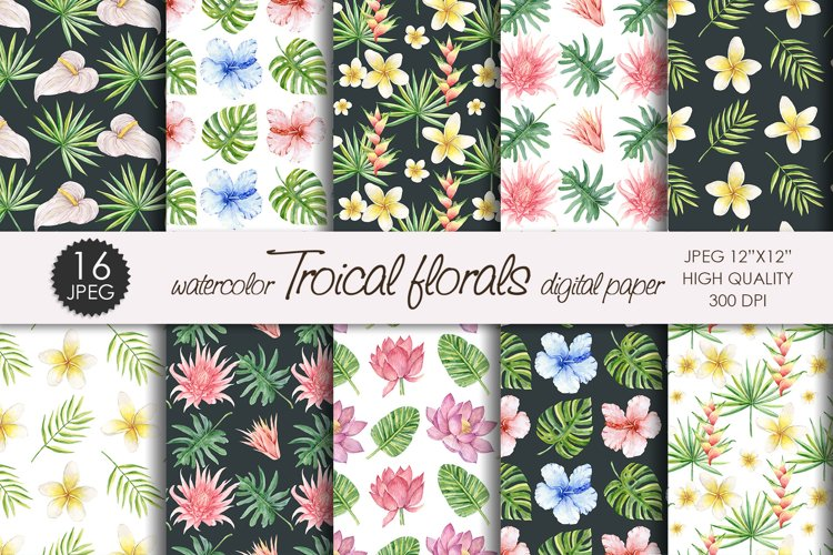 Watercolor Tropical flowers and leaves digital paper example image 1
