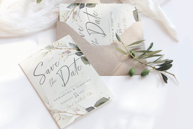 Watercolour Leaves Save the Date Template example image 1
