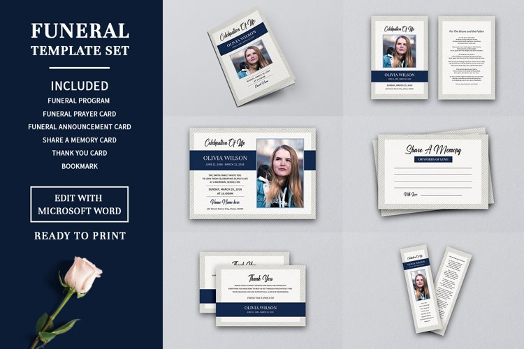 Funeral Program Template Set, Ms Word & Photoshop template