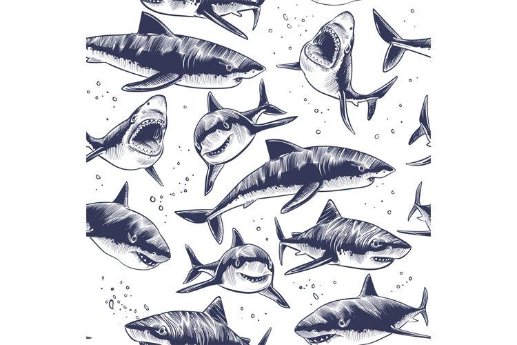 Sharks seamless pattern. Hand drawn underwater sea fish naut example image 1