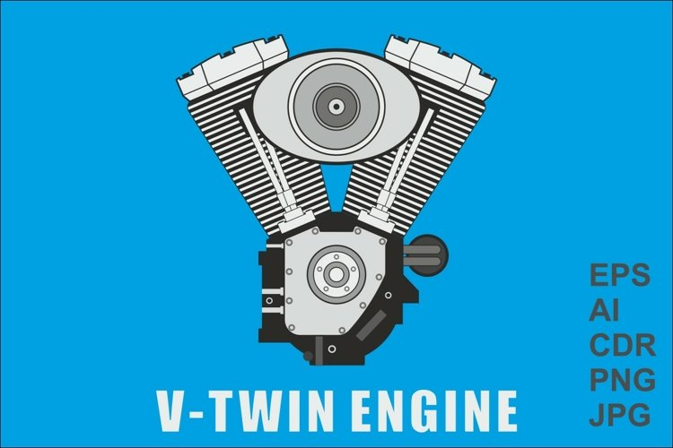 Vector image of a V-twin engine example image 1