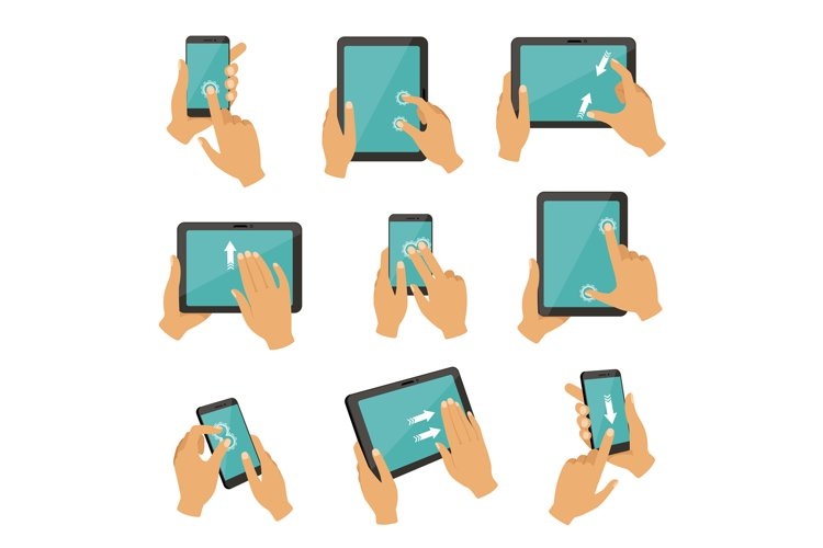 Illustrations of gestures to control different devices table example image 1