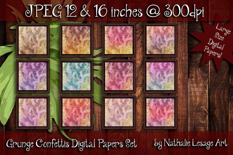 Grunge Confettis Digital Paper Bundle Pack Backgrounds Large