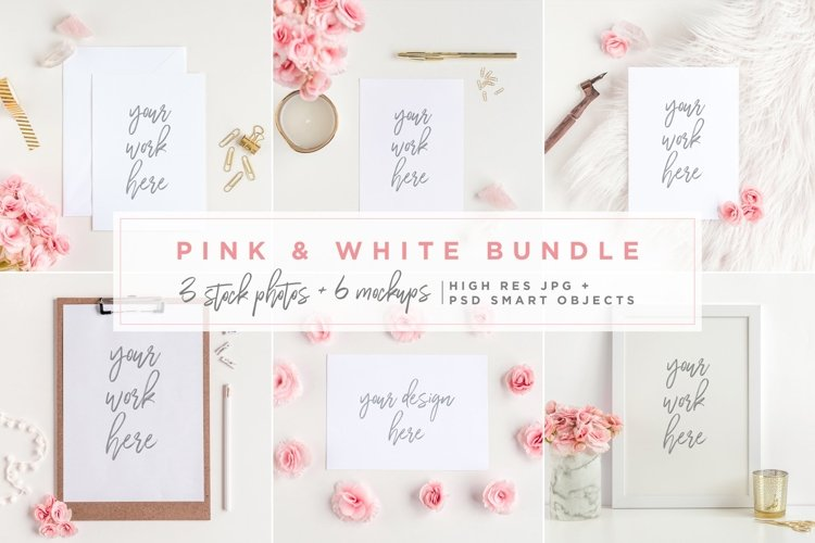 Pink & White Bundle - Mockups example image 1