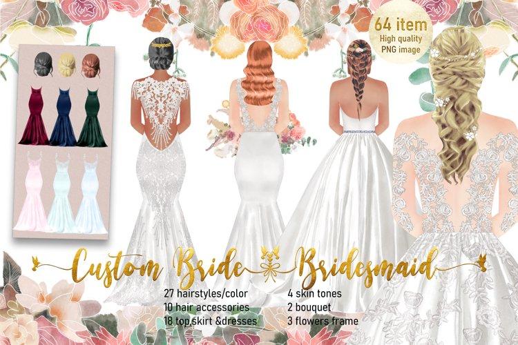 Custom Bridesmaid Bride Clipart, Bridal Clipart, Wedding PNG