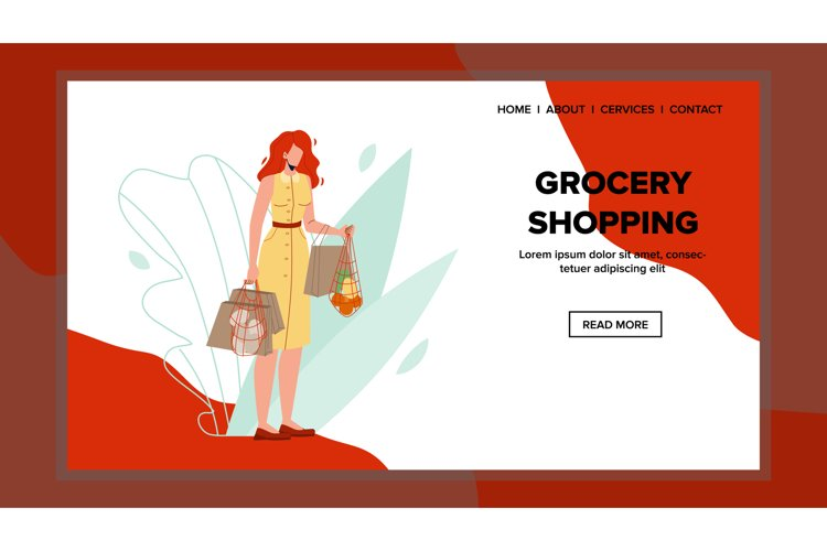 Woman Shopper Shopping Grocery Supermarket Vector example image 1