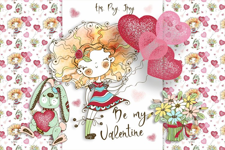 Funny Valentine Cards, Digital Clipart Valentines, Birthday example image 1
