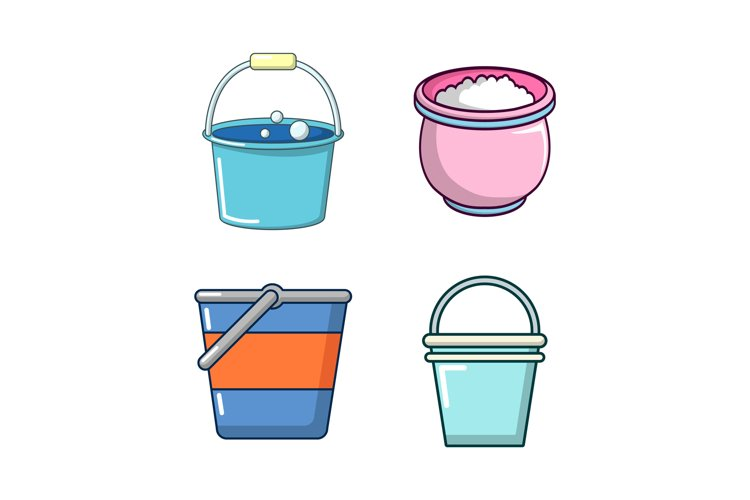 Bucket icon set, cartoon style example image 1