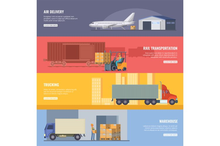 Horizontal banners of delivery or logistics services. Trucki example image 1