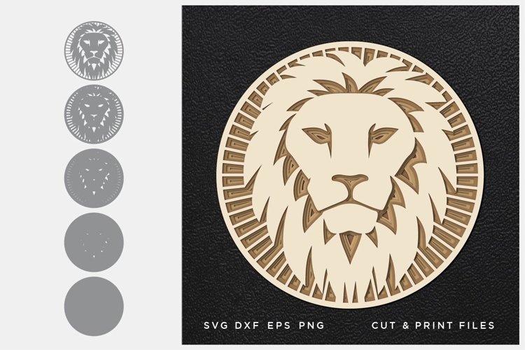 Lion svg, Cut file Mandala, Multilayer, Layered svg, 3d