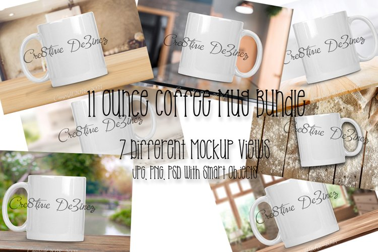 11 ounce Coffee Mug Bundle, Realistic Stock Photo Mock-Up example image 1