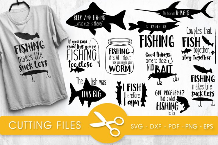 Fishing svg bundle cutting files svg, dxf, pdf, eps, png example image 1