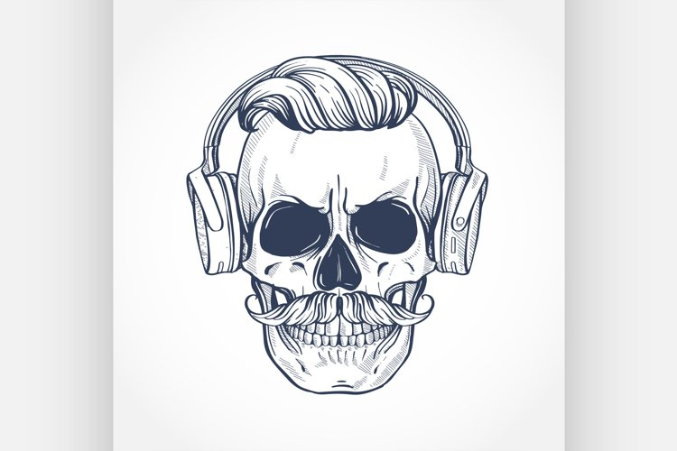 Angry skull with hairstyle example image 1