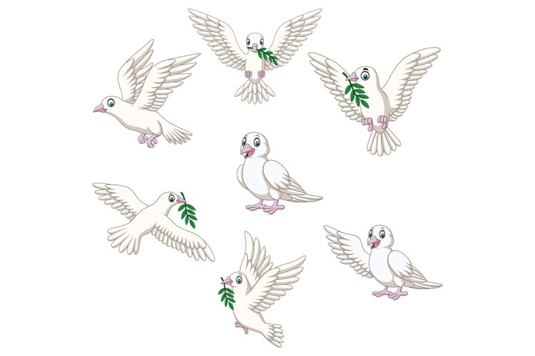 Set of Seven Cartoon Dove Character example image 1