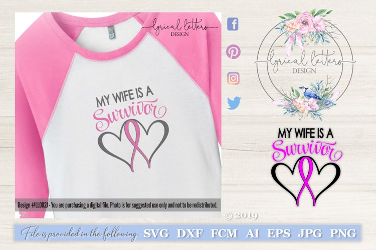 Wife Survivor Pink Ribbon SVG DXF LL002J