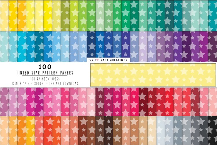 100 Tinted Stars Pattern Digital Papers - rainbow colors example image 1
