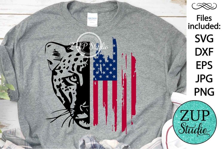 Leopard with USA Flag Design Digital Cutting files 498 example image 1