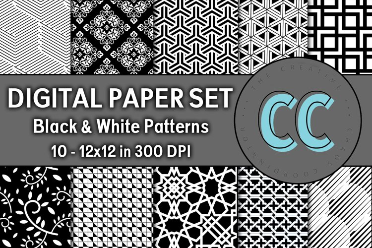 Black and White Patterns - Digital Paper Pack example image 1