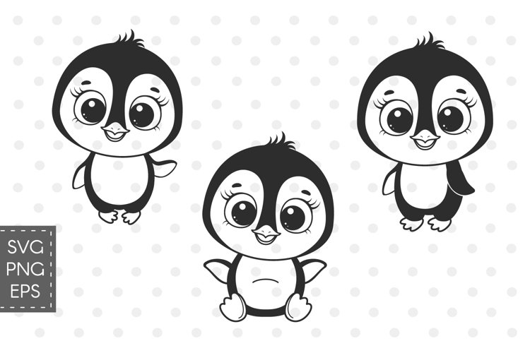 Penguin svg, Baby animals SVG, Set of cute Penguins cliparts example image 1