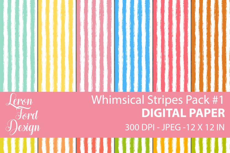 Whimsical Stripes Pack #1 Digital Paper example image 1