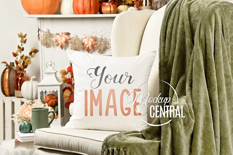 Halloween Decor Square Mockup Pillow on White Chair, JPG example image 1