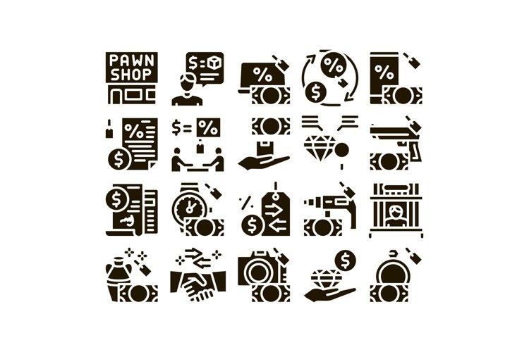 Pawnshop Exchange Glyph Set Vector example image 1