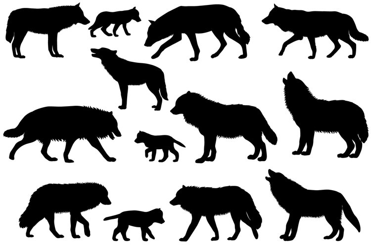 Silhouettes of wolves and wolf-cubs example image 1