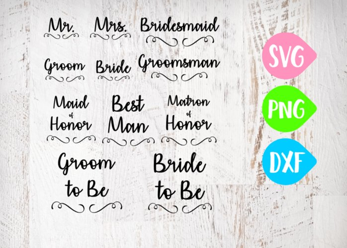 Bridal Party Bundle Svg, Groom, Bride, Maid of honor, Best Man, Wedding Bundle example image 1