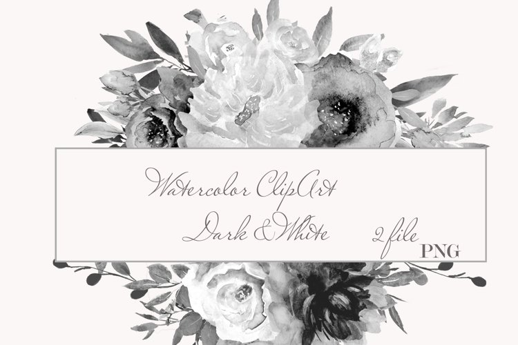Watercolor White Dark Floral Clipart For Wedding Stationery example image 1