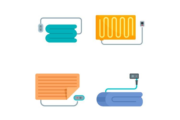 Electric blanket icon set, flat style example image 1