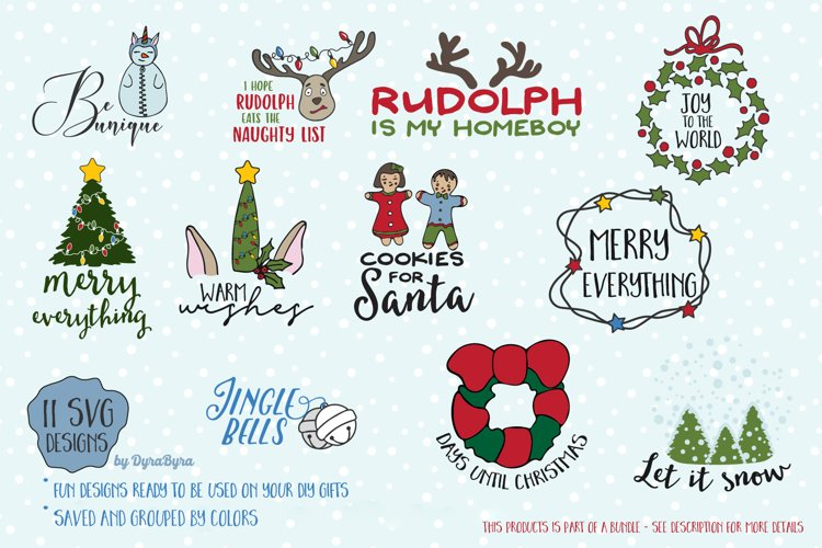 Fun Christmas SVG Bundle - Unicorn SVG, Christmas Tree example image 1