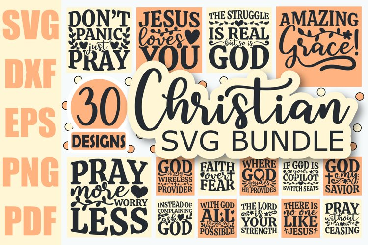Christian SVG Bundle, Christian Quotes SVG files for Cricut example image 1