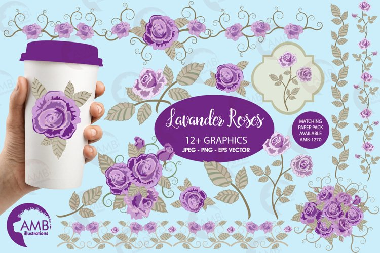 Purple roses, Wedding clipart, shabby chic, Purple Roses clipart, Bridal Shower, Flower Embellishments,lipart, graphics and illustrations AMB-1030 example image 1