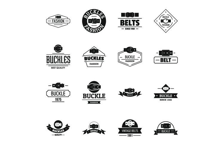 Belt buckle logo icons set, simple style example image 1