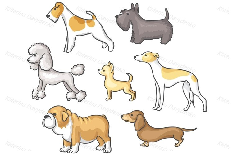 Round Frame and set of cartoon dogs of different breeds example image 1