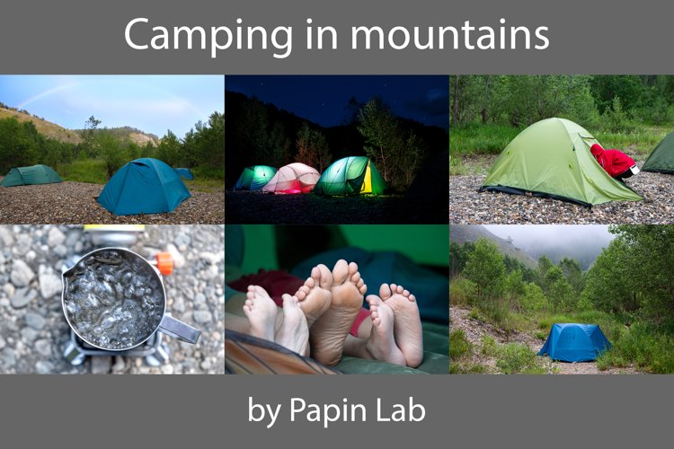 Tent camping in mountains.