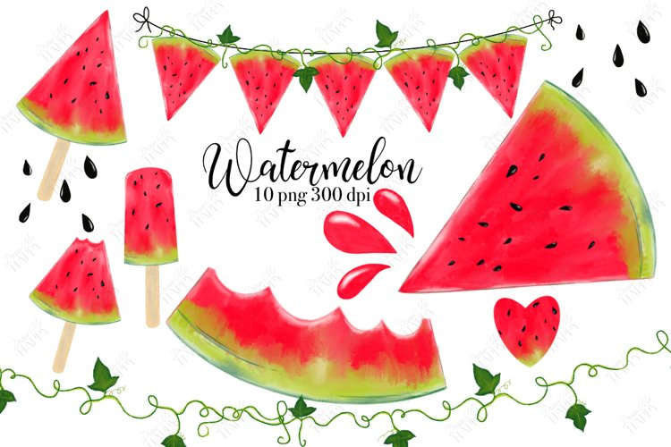 Watermelon Clipart, Summer, Picnic example image 1