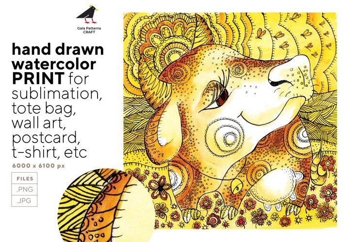 Cow - cute hand drawn watercolor farmhouse illustration