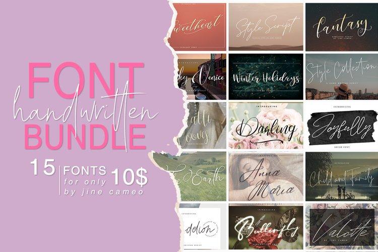 Handwritten Font Bundle 15 in 1 example image 1