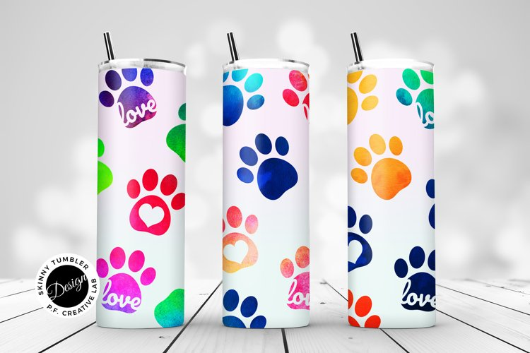 Skinny Tumbler Sublimation - Watercolor Pet Paws