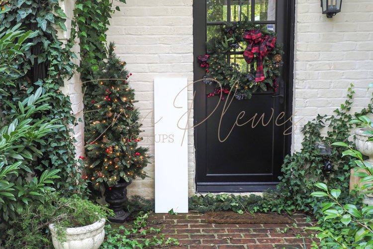 Christmas Outdoor Sign Mockup White   Vertical Sign Mock Up