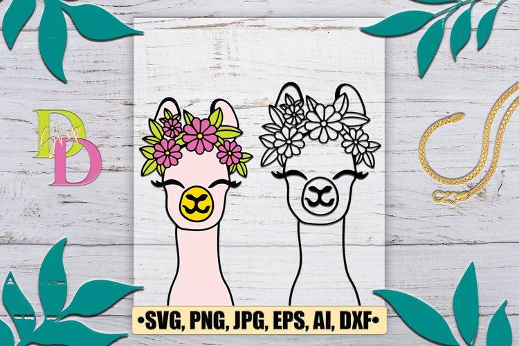 Llama SVG file, Llama with Flower Crown SVG, Llama cut file example image 1