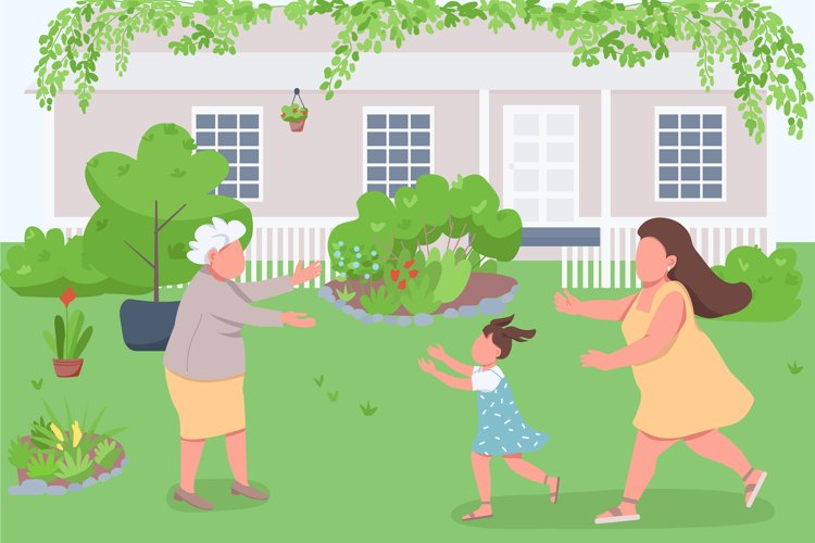 Visit grandmother flat color vector illustration example image 1