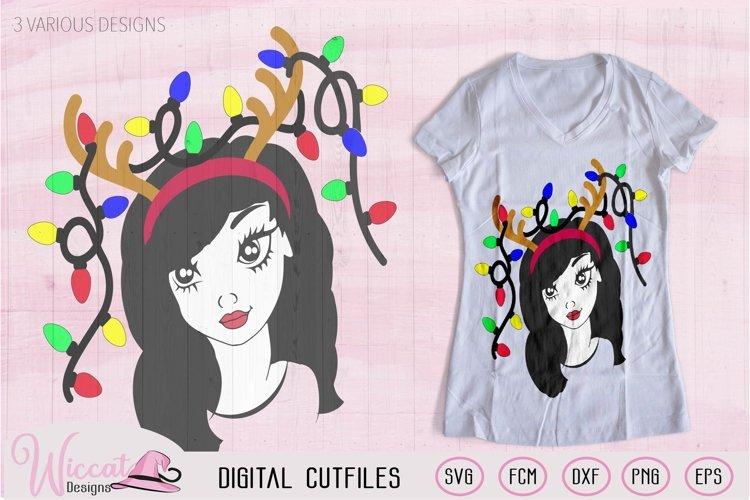 Christmas lights svg, Girl face svg, Line art girl, antlers