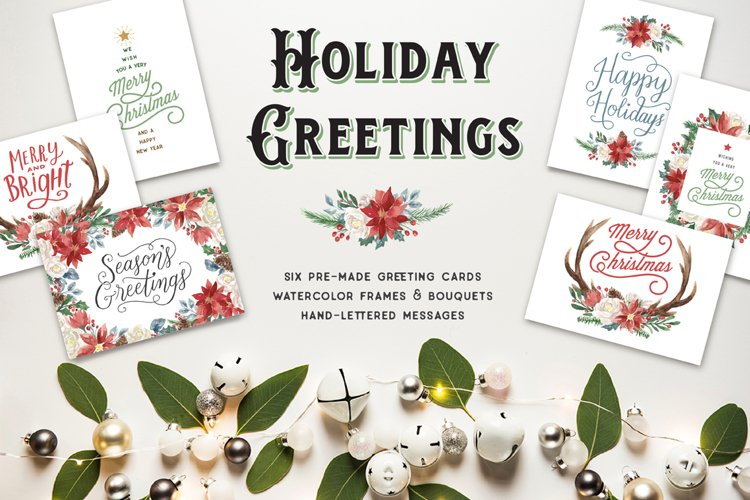 Holiday Greeting Cards and Clip Art Set example image 1