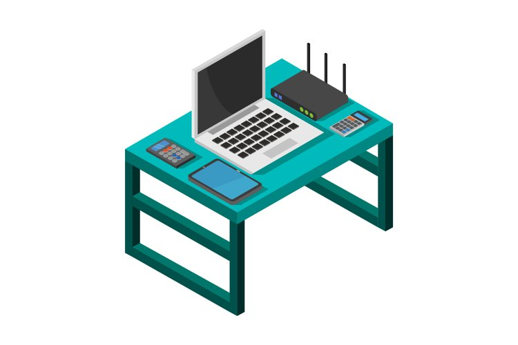 isometric office desk