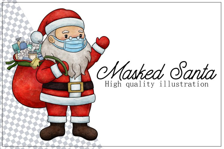 Masked Santa Pandemic Christmas 2020 Holidays Illustration