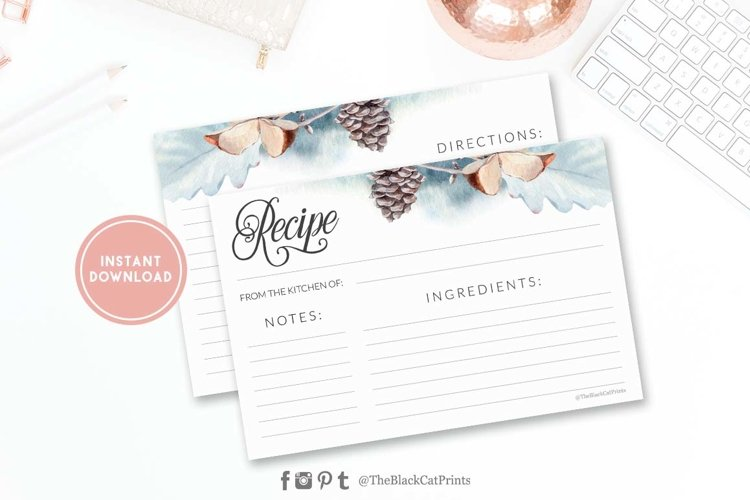 Winter Watercolor Recipe card   Printable   Double Sided