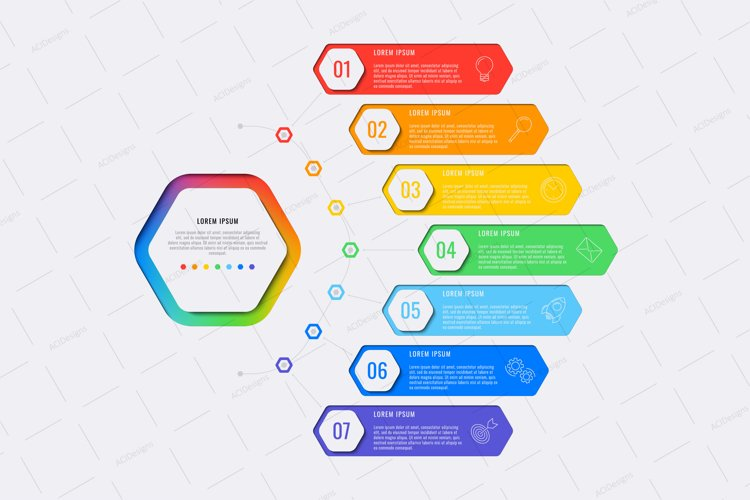 Infographic template with seven hexagonal elements example image 1