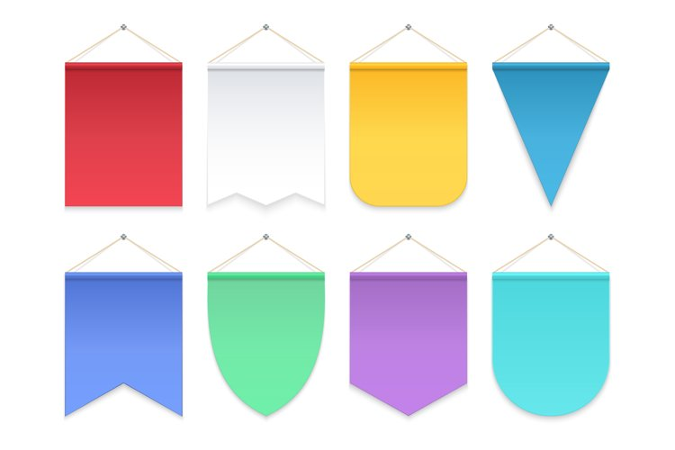 Color pennant. Triangle hanging banners and flags. Fabric fo example image 1